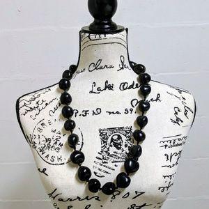Black Beaded Necklace w/ Adjustable Ribbon Tie